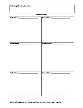 Guided Reading Lesson Planner (editable) with Anecdotal Notes Page