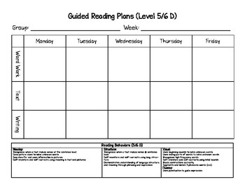 Guided Reading Lesson Planning Templates