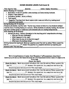 Guided Reading Lesson Plans- Caps for Sale- Level K