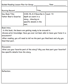 Guided Reading Lesson Plans DRA Levels 13-18