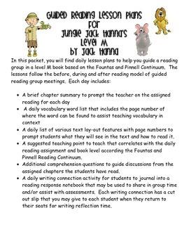 Guided Reading Lesson Plans- Jungle Jack Hanna's Safari Adventure- Level M-