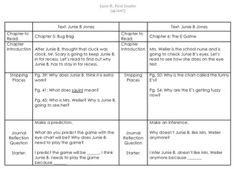 Guided Reading Lesson Plans: Junie B., First Grader (at last!)