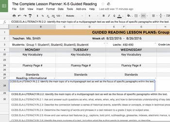 K-5 Guided Reading Lesson Planner: for Google Drive w/ CCSS