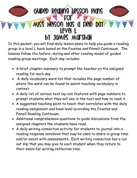 Guided Reading Lesson Plans: Miss Nelson Has a Field Day- Level L