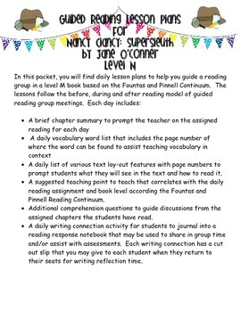 Guided Reading Lesson Plans- Nancy Clancy: Super Sleuth- Level N