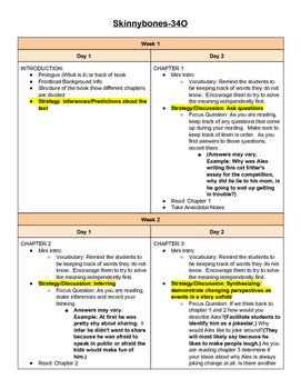 Guided Reading Lesson Plans- Skinny Bones Level O