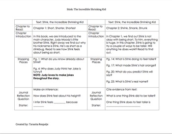 Guided Reading Lesson Plans: Stink, The Incredible Shrinking Kid