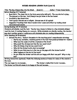 Guided Reading Lesson Plans: The Day Jimmy's Boa Ate the Wash- Level K