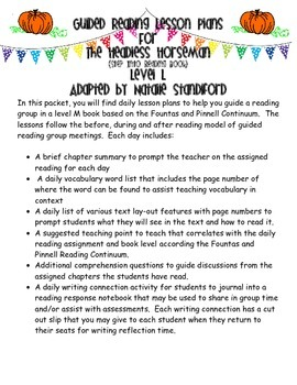 Guided Reading Lesson Plans- The Headless Horseman (Step Into Reading)- Level L