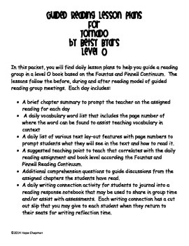 Guided Reading Lesson Plans- Tornado by Betsy... by Cup of Hope ...