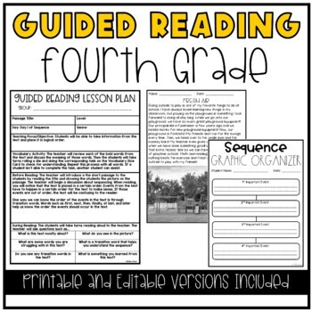 Guided Reading Lesson Plans (YEAR LONG-4TH GRADE)