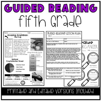 Guided Reading Lesson Plans (YEAR LONG-5th GRADE)