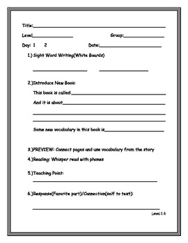 Guided Reading Lesson Plans levels 1-28