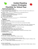 Guided Reading Lesson Strategies Checklist- In English