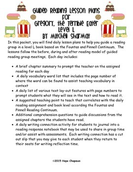 Guided Reading Lessons: Gregory the Terrible Eater- Level L
