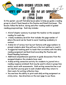 Guided Reading Lessons- Henry and Mudge and the Big Sleepover- Level J