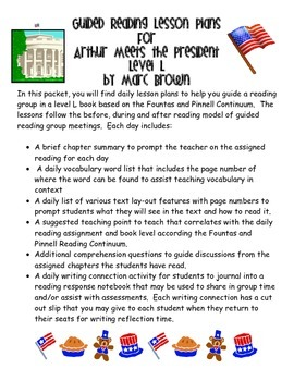 Guided Reading Lessons Plans- Arthur Meets the President- Level L