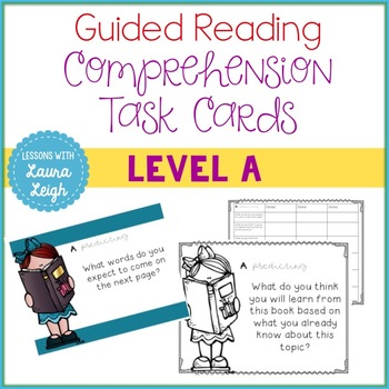Guided Reading Level A Comprehension Task Cards