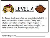 Guided Reading Level A Parent Skill Letters