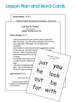 Guided Reading Level C/D Emergent Printable Book and Lesson Plan:  Pirate