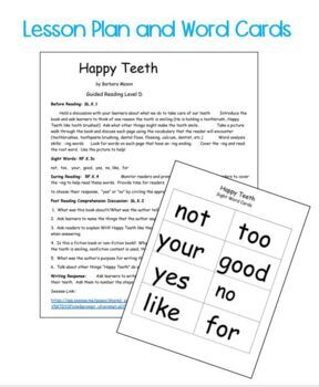 Guided Reading Level D Non Fiction Printable Book w/ Lesson Plan: Dental Health
