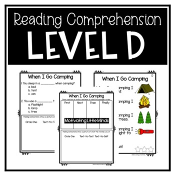 Guided Reading Level D Passages or DRA 6 with Comprehension Response Sheets