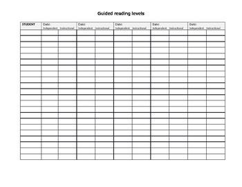 Guided Reading Level Data Sheet
