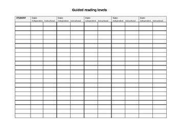 Guided Reading Level Data Sheet