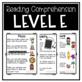 Guided Reading Level E Passages or DRA 8 with Comprehensio