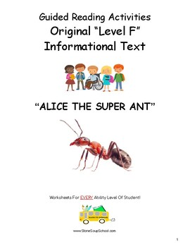 """Guided Reading Level F Worksheets- """"Alice the Super Ant"""" - for Hearing Impaired"""