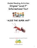 Guided Reading Level F Worksheets - Alice the Super Ant - Learning Disabilities
