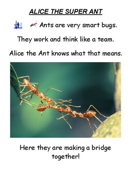 """Guided Reading Level F Worksheets- """"Alice the Super Ant"""" - for Visually Impaired"""