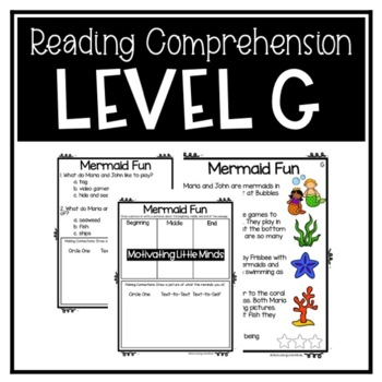 Guided Reading Level G Passages or DRA 12 with Comprehension Response Sheets
