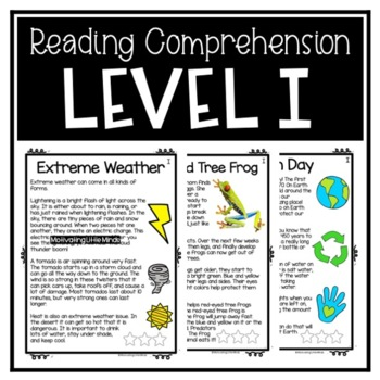 Guided Reading Level I Passages or DRA 16 with Comprehension Response Sheets