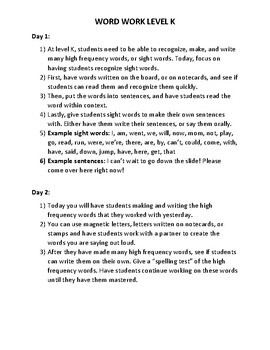 Guided Reading Level K: Word Work Lessons