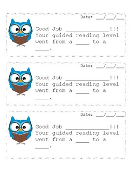 Guided Reading Level Note for Parents