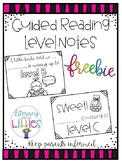 Guided Reading Level Notes {Freebie}