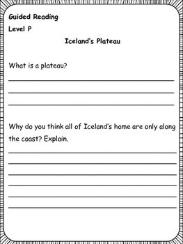 Guided Reading: Level P  Comprehension Printables