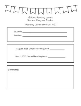 Guided Reading Level Progress Report