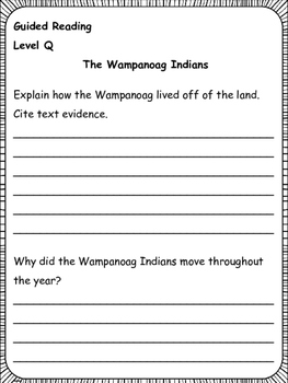 Guided Reading: Level Q Comprehension Printables