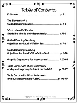 Guided Reading Level W