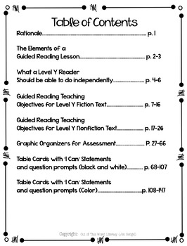 Guided Reading Level Y