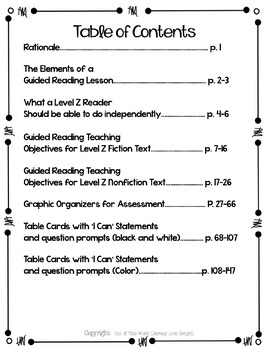 Guided Reading Level Z
