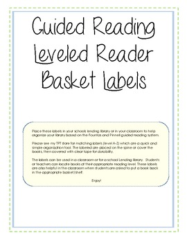 Guided Reading Leveled Library Basket Labels