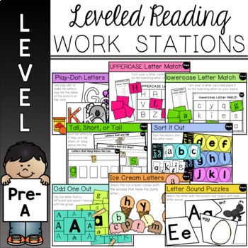 *Guided Reading Leveled Work Stations -Complete Bundle for Levels Pre-A  - J (18