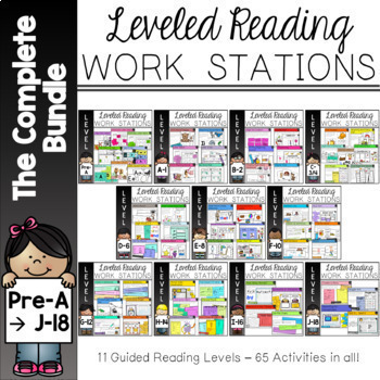 Guided Reading Work Stations Complete Bundle for Levels Pre A  to J