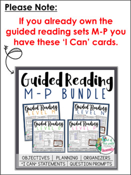Guided Reading Levels M-P: JUST the 'I Can' Cards