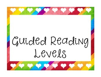 Guided Reading Level Organizer