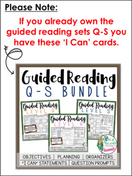 Guided Reading Levels Q-S: JUST the 'I Can' Cards