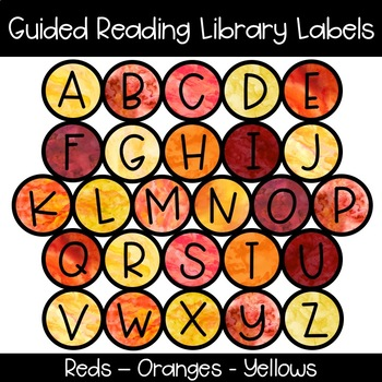 Guided Reading Library Labels | Reds - Oranges - Yellows